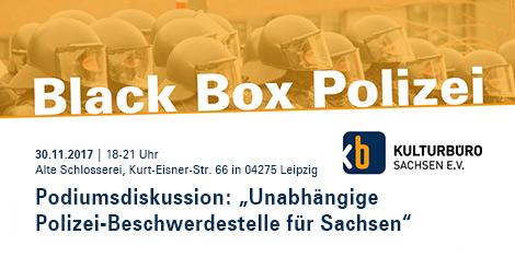 """banner veranstaltung """"Black Box Polizei"""""""