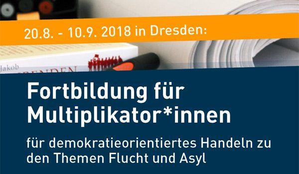 """Titel Flyer Fortbildung für Multiplikator*innen """"Demokratieorientiertes Handeln zu den Themen Flucht und Asyl"""""""