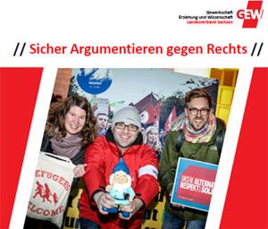 """Cover Flyer """"Sicher Argumentieren gegen Rechts- Workshopreihe zum Umgang mit Rechtspopulismus und Neonazismus"""""""