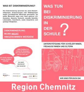 Cover Infoflyer zu Diskriminierung an Schulen mit Beratungs- und Unterstützungangeboten. Region Chemnitz