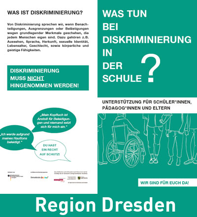 Infoflyer zu Diskriminierung an Schulen mit Beratungs- und Unterstützungangeboten. Region Leipzig