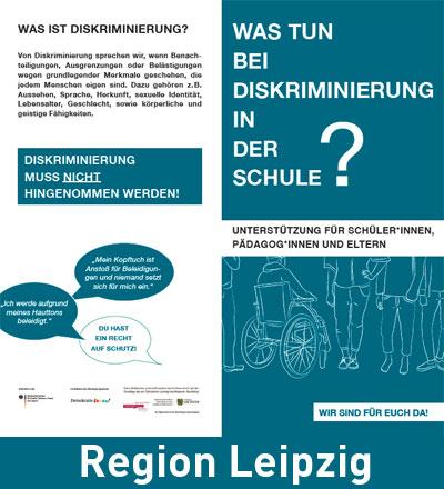 Cover Infoflyer zu Diskriminierung an Schulen mit Beratungs- und Unterstützungangeboten. Region Leipzig