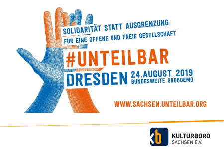#unteilbar banner zur demonstartion am 24.8.2019 in Dresden