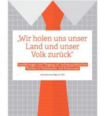 """Cover Broschüre """"Umgang mit rechtspopulistischen Parteien"""", 2. Auflage"""
