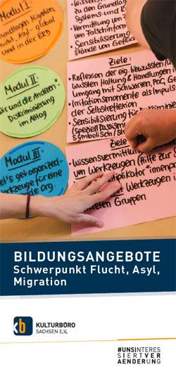 Cover Folder Bildungsangebote Schwerpunkt Flucht, Asyl & Migration