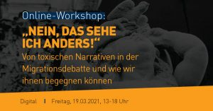 """Banner Workshop """"Nein, das sehe ich anders"""", 19.03.2021"""