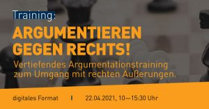 "Banner Workshop ""Agrumentieren gegen recht"" a, 22.April 2021"