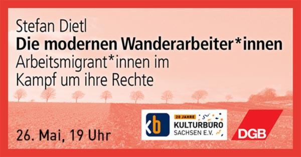 """Banner Veranstaltung – Arbeitsmigrant*innen im Kampf um ihre Rechte"""" , 26.05.2021"""