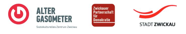 """Logo """"Alter Gasometer"""" und Logo """"Stadt Zwickau"""""""