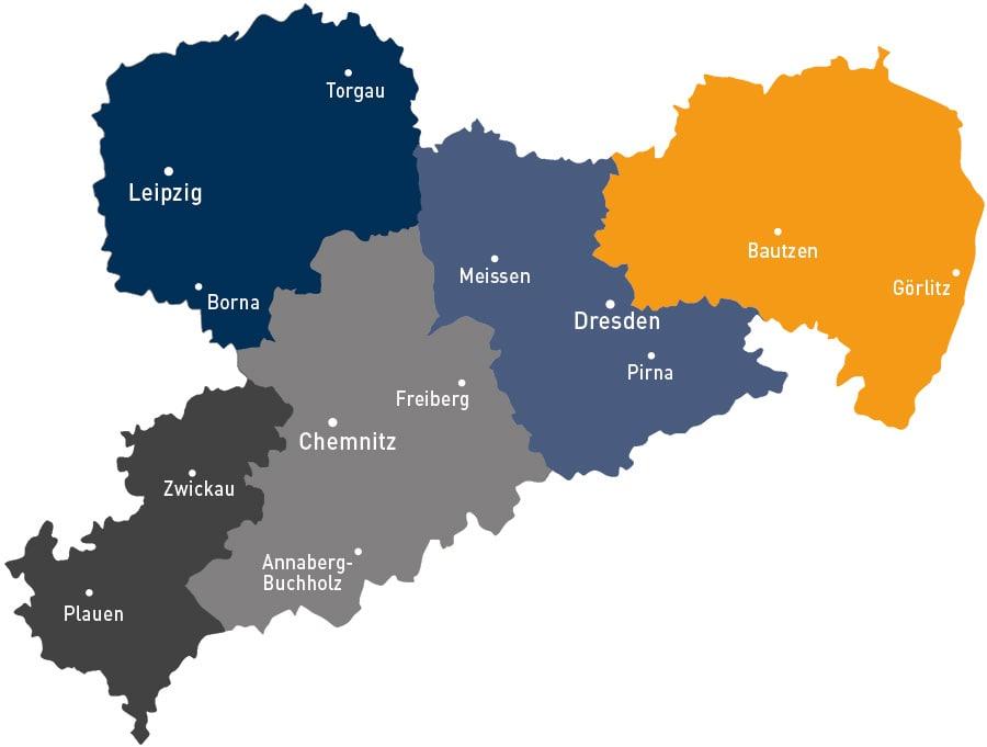 Übersichtskarte Regionalbüros Mobile Beratungsteams